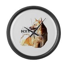 icelandic sheepdog Large Wall Clock