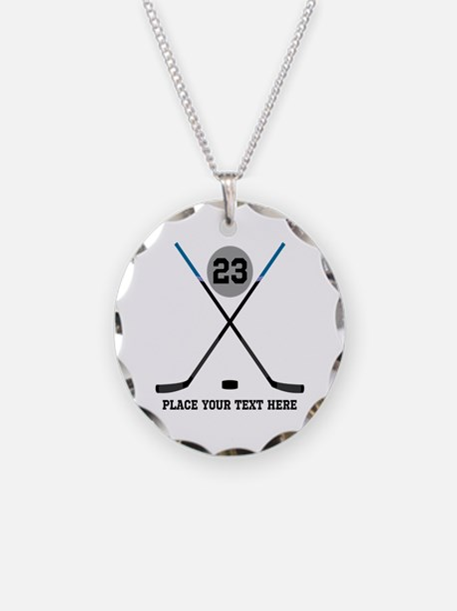 Ice Hockey Personalized Necklace Circle Charm