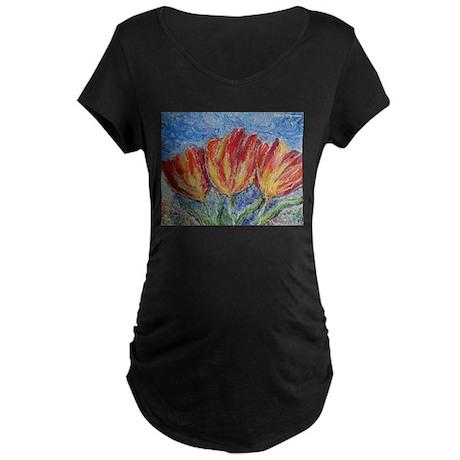 Tulips, colorful art! Maternity Dark T-Shirt