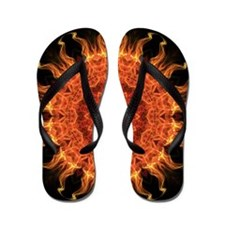 Flaming mandala Flip Flops