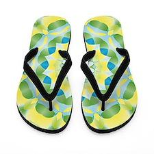 Green Yellow flower mandala Flip Flops