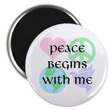 "Peace Begins With Me 2.25"" Magnet (100 pack)"
