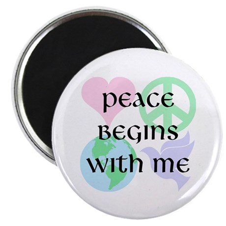 "Peace Begins With Me 2.25"" Magnet (10 pack)"