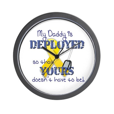 Daddy is Deployed Blue Wall Clock