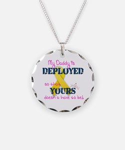 Daddy is Deployed Pink Necklace