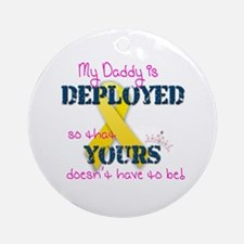 Daddy is Deployed Pink Ornament (Round)