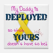 Daddy is Deployed Pink Tile Coaster