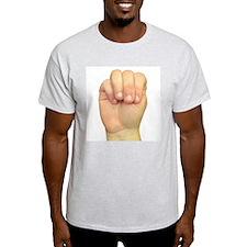 ASL Letter M Ash Grey T-Shirt
