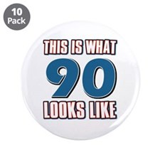 "Cool 90 year old birthday designs 3.5"" Button (10"