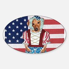 Dachshund Patriotic Dog Oval Decal