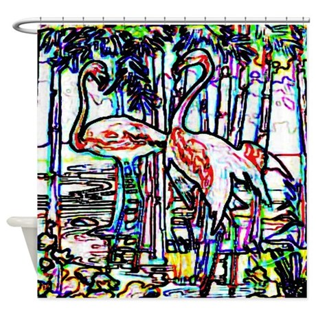 Neon Flamingos Shower Curtain