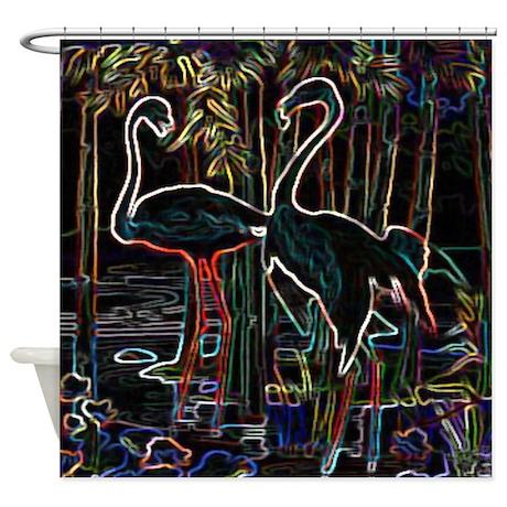 Neon Flamingos Shower Curtain