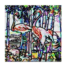 Neon Flamingos Tile Coaster