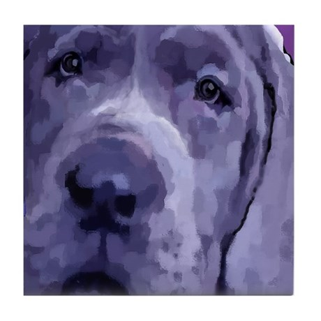 Great Dane Blue Puppy Upclose Tile Coaster