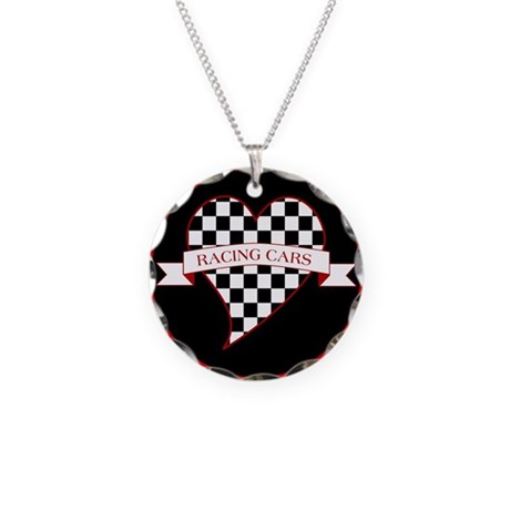 I Love Race Cars Necklace Circle Charm