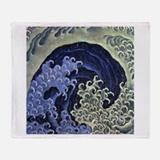 Hokusai Feminine Wave Throw Blanket