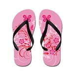 Pink Floral and Butterfly Flip Flops
