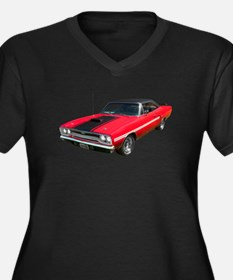 1970 Plymouth GTX Women's Plus Size V-Neck Dark T-