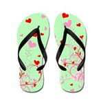 Hearts and Floral Flip Flops