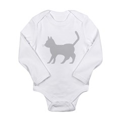 Gray Cat Icon Long Sleeve Infant Bodysuit