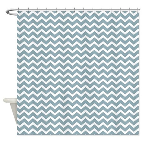 Blue Chevron Stripes Shower Curtain