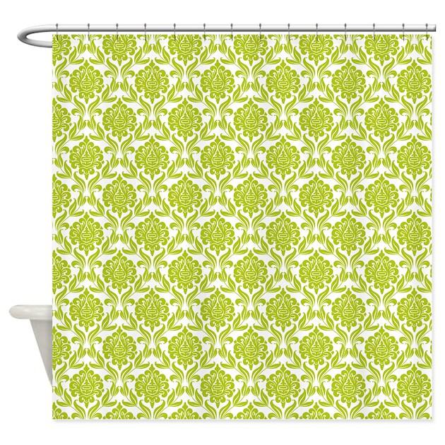 Green damask pattern shower curtain by mcornwallshop - Green curtain patterns ...