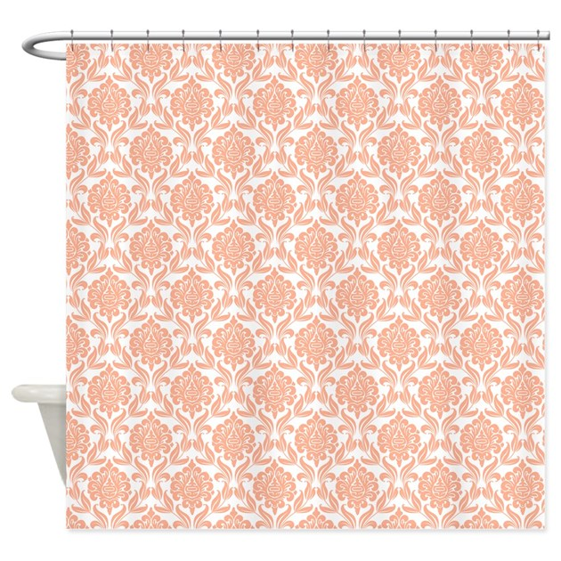peach damask pattern shower curtain by mcornwallshop