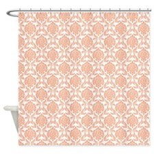 Peach Damask Pattern Shower Curtain