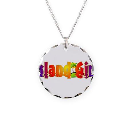 Island Girl Necklace Circle Charm