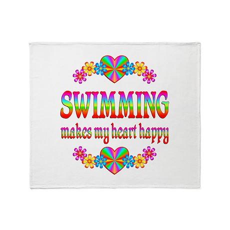 Swimming Happy Throw Blanket