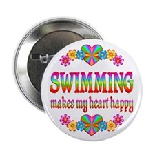"""Swimming Happy 2.25"""" Button (100 pack)"""