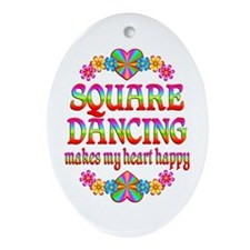 Square Dancing Happy Ornament (Oval)