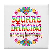 Square Dancing Happy Tile Coaster