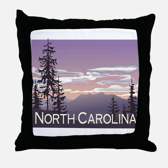North Carolina Mountains Throw Pillow