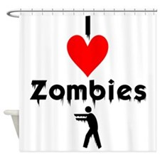 I Love Zombies Shower Curtain