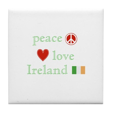 Peace, Love and Ireland Tile Coaster