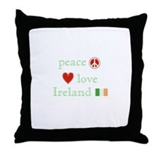Peace, Love and Ireland Throw Pillow