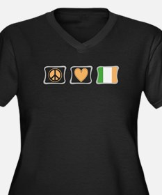 Peace, Love and Ireland Women's Plus Size V-Neck D
