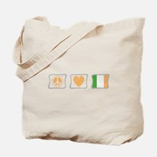 Peace, Love and Ireland Tote Bag