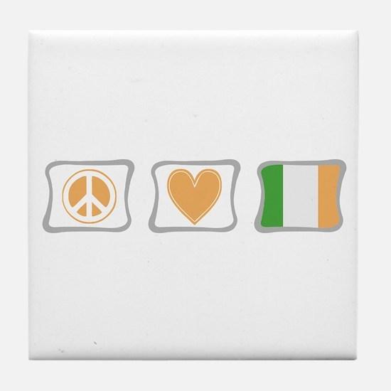 Peace, Love and Ireland Tile Coaster