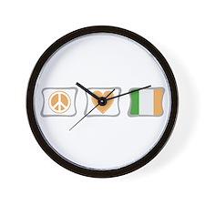 Peace, Love and Ireland Wall Clock