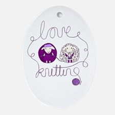 cute sheep love knitting Ornament (Oval)