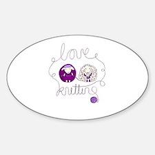 cute sheep love knitting Sticker (Oval)
