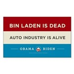 Bin Laden Dead, Auto Industry Alive Sticker (Recta