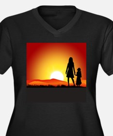 Cute Sunrise Women's Plus Size V-Neck Dark T-Shirt