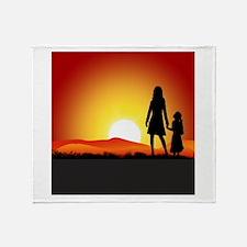 Cute Mother daughter Throw Blanket