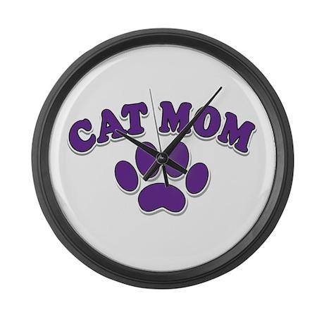 Cat Mom Large Wall Clock
