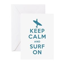 Keep Calm and Surf On Greeting Cards (Pk of 20)