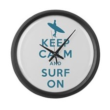 Keep Calm and Surf On Large Wall Clock