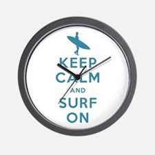Keep Calm and Surf On Wall Clock